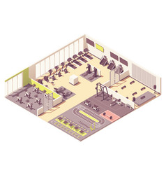 Isometric fitness club or gym interior vector
