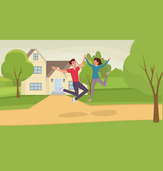 jumping people flat excited vector image