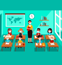 kids in mask in classroom social distancing vector image