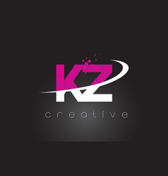 kz k z creative letters design with white pink vector image