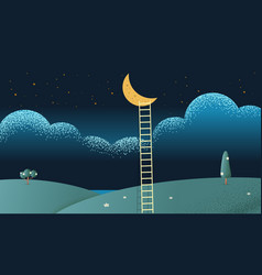 ladders with moon vector image