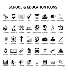 Large set of 40 school and education icons vector