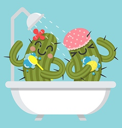 Loving couple of cactus take a bath vector