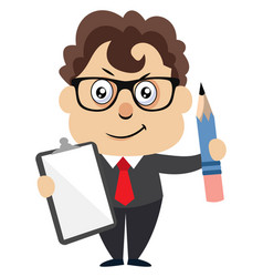 man with pen and paper on white background vector image