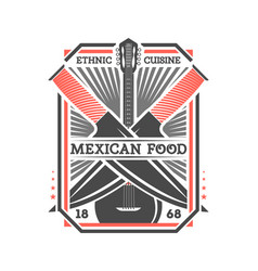 Mexican food vintage isolated label vector