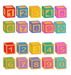 Numbers wooden colorful blocks vector