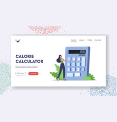 Nutrition and dieting landing page template tiny vector