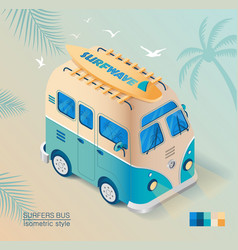 old bus on beach with surfboard in isometric vector image