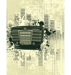old radio with grunge background vector image