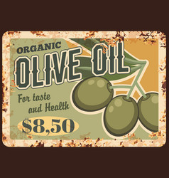 olive oil rusty metal plate fresh product vector image