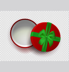opened red empty gift box with green ribbon and vector image