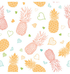 Orange green pineapples stars summer vector
