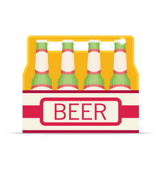 pack of beer bottles flat style icon vector image