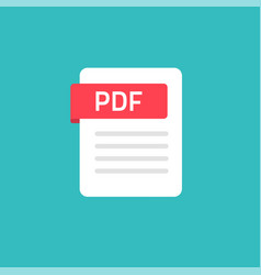 pdf icon isolated on color background flat vector image
