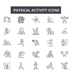 Physical activity line icons signs set vector