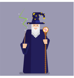 Pixel wise mage with wand and staff cool and vector
