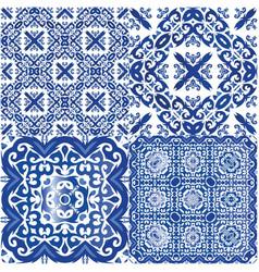 Portuguese vintage azulejo tiles vector
