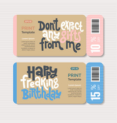 Promotional coupon design template with hand drawn vector