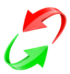 Red and green 3d arrows in circular motion vector