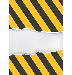 Ripped paper with construction sign vector