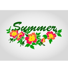 round frame isolated with summer flowers in vintag vector image