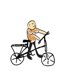 Running on bicycle vector