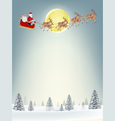 santa claus and snowman on christmas winter hill vector image