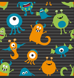 seamless pattern of various monsters vector image