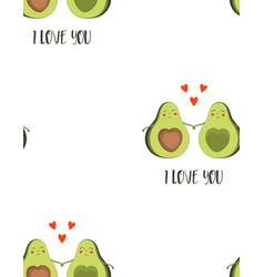 Seamless pattern with cute avocado for valentines vector