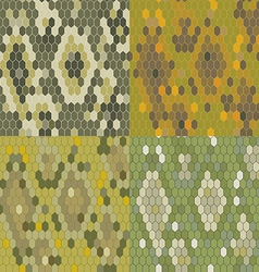 Set 4 snake skin texture Seamless pattern python vector