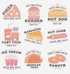 set fast food retro badge design vintage vector image