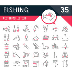 set flat line icons fishing vector image