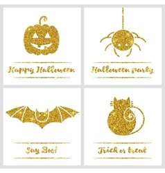 Set of Halloween gold textured icons vector