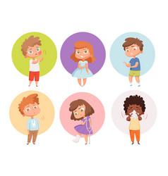sick kids health problems children flu unhealthy vector image