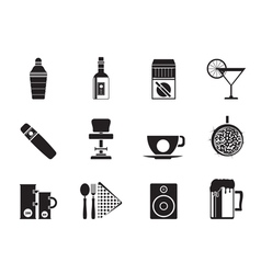 Silhouette bar and drink icons vector image