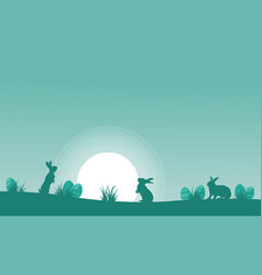 Silhouette of bunny with moon landscape vector