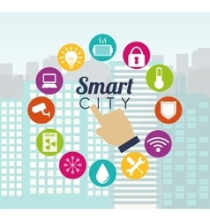 Smart city hand building app icon set vector image