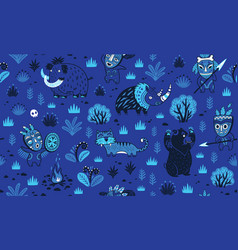 stone age pattern in blue night colors vector image