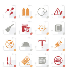 Stylized pregnancy and contraception icons vector