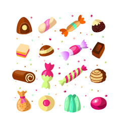 sweet cartoon candy set collection of sweets vector image