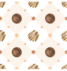 Sweet christmas watercolor pattern with chocolate vector