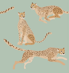 two jaguars on a green-blue background seamless vector image