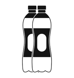 Two plastic bottles icon simple style vector image