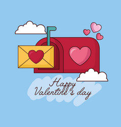 Valentines day celebration with envelope in vector