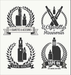 vape shop laurel wreaths retro collection vector image