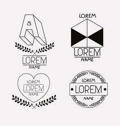 vintage insignias sketch set in monochrome vector image