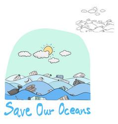 Water pollution in ocean vector
