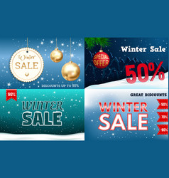 winter sale banner set realistic style vector image
