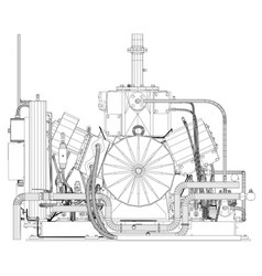 Wire-frame industrial equipment engine eps 10 vector