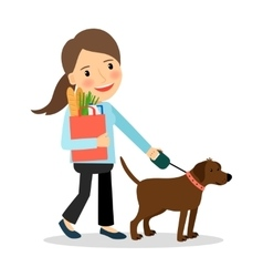 woman with dog and bag food vector image